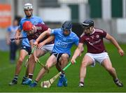 23 June 2021; Sean Neary, left, and Dylan Shaughnessy of Galway in action against Darach McBride, left, and Lee Gannon of Dublin during the 2020 Bord Gáis Energy Leinster Under 20 Hurling Championship Final match between Dublin and Galway at Bord na Móna O'Connor Park in Tullamore, Offaly. Photo by Piaras Ó Mídheach/Sportsfile