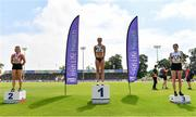 20 June 2021; Under 23 Women's 100m hurdles medallists, from left, Niamh O'Neill of St Colmans South Mayo AC, silver, Lara O'Byrne of Donore Harriers, Dublin, gold, and Caoimhe Mackey of Donore Harriers, Dublin, bronze, during day two of the Irish Life Health Junior Championships & U23 Specific Events at Morton Stadium in Santry, Dublin. Photo by Sam Barnes/Sportsfile