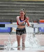 20 June 2021; Ciara Dolan of Menapians AC, Wexford, competing in the Junior Women's 3km Steeplechase during day two of the Irish Life Health Junior Championships & U23 Specific Events at Morton Stadium in Santry, Dublin. Photo by Sam Barnes/Sportsfile