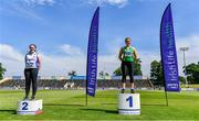 19 June 2021; Under 23 Women's Weight for Distance medallists, from left,  Emma Kelly of Brow Rangers AC, Kilkenny, silver, and Zoe Mohan of Cushinstown AC, Meath, gold, during day one of the Irish Life Health Junior Championships & U23 Specific Events at Morton Stadium in Santry, Dublin. Photo by Sam Barnes/Sportsfile