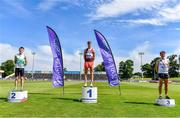 19 June 2021; Junior Men's 800m medallists, from left, Nathan Sheehy Cremin of Emerald AC, Limerick, silver, Eoin Quinn of Mullingar Harriers AC, Westmeath, gold, and Oisin Kelly of Cranford AC, Donegal, bronze, during day one of the Irish Life Health Junior Championships & U23 Specific Events at Morton Stadium in Santry, Dublin. Photo by Sam Barnes/Sportsfile