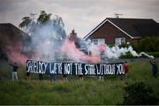 25 June 2021; Dundalk supporters outside the ground display a banner for Chris Shields, who was playing his final game for the club, before the SSE Airtricity League Premier Division match between Dundalk and Derry City at Oriel Park in Dundalk, Louth. Photo by Stephen McCarthy/Sportsfile