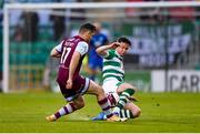 25 June 2021; Ronan Murray of Drogheda United in action against Ronan Finn of Shamrock Rovers during the SSE Airtricity League Premier Division match between Shamrock Rovers and Drogheda United at Tallaght Stadium in Dublin. Photo by Seb Daly/Sportsfile