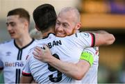 25 June 2021; Patrick Hoban of Dundalk celebrates with Chris Shields, right, after scoring their second goal during the SSE Airtricity League Premier Division match between Dundalk and Derry City at Oriel Park in Dundalk, Louth. Photo by Stephen McCarthy/Sportsfile