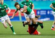 25 June 2021; Tim Corkery of Ireland is tackled by Oliver Burrows of Wales during the U20 Six Nations Rugby Championship match between Wales and Ireland at Cardiff Arms Park in Cardiff, Wales. Photo by Chris Fairweather/Sportsfile