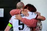 25 June 2021; Chris Shields of Dundalk having played his final game for the club, with his mother Sonia, after the SSE Airtricity League Premier Division match between Dundalk and Derry City at Oriel Park in Dundalk, Louth. Photo by Stephen McCarthy/Sportsfile