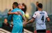 25 June 2021; Dundalk players, from left, goalkeeper Alessio Abibi, Chris Shields and Andy Boyle following the SSE Airtricity League Premier Division match between Dundalk and Derry City at Oriel Park in Dundalk, Louth. Photo by Stephen McCarthy/Sportsfile