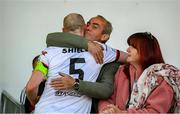 25 June 2021; Chris Shields of Dundalk having played his final game for the club, with his father Bill and mother Sonia, after the SSE Airtricity League Premier Division match between Dundalk and Derry City at Oriel Park in Dundalk, Louth. Photo by Stephen McCarthy/Sportsfile