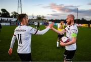 25 June 2021; Chris Shields of Dundalk having played his final game for the club, with Patrick McEleney, after the SSE Airtricity League Premier Division match between Dundalk and Derry City at Oriel Park in Dundalk, Louth. Photo by Stephen McCarthy/Sportsfile