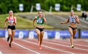 26 June 2021; Niamh Whelan of Ferrybank AC, Waterford,  centre, and Kate Doherty of Dundrum South Dublin AC, right, competing in the Women's 100m heats during day two of the Irish Life Health National Senior Championships at Morton Stadium in Santry, Dublin. Photo by Sam Barnes/Sportsfile