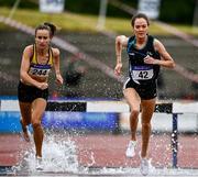 26 June 2021; Michelle Finn of Leevale AC, Cork, left, on her way to winning the Women's 3000m Steeplechase ahead of Eilish Flanagan of Carmen Runners AC, Tyrone, who finished second, during day two of the Irish Life Health National Senior Championships at Morton Stadium in Santry, Dublin. Photo by Sam Barnes/Sportsfile
