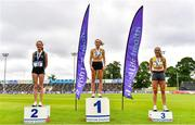 26 June 2021; Women's 3000m Steeplechase medallists, from left, Eilish Flanagan of Carmen Runners AC, Tyrone, silver, Michelle Finn of Leevale AC, Cork, gold, and Kerry Anne O'Flaherty of Newcastle and District AC,Down, bronze  during day two of the Irish Life Health National Senior Championships at Morton Stadium in Santry, Dublin. Photo by Sam Barnes/Sportsfile