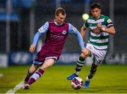25 June 2021; Mark Doyle of Drogheda United in action against Ronan Finn of Shamrock Rovers during the SSE Airtricity League Premier Division match between Shamrock Rovers and Drogheda United at Tallaght Stadium in Dublin. Photo by Seb Daly/Sportsfile