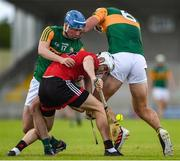 26 June 2021; Eoghan Sands of Down in action against Tomás O'Connor, left, and Fionan Mackessy of Kerry during the Joe McDonagh Cup Round 1 match between Kerry and Down at Austin Stack Park in Tralee, Kerry. Photo by Daire Brennan/Sportsfile