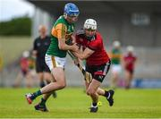 26 June 2021; Tomás O'Connor of Kerry in action against Eoghan Sands of Down during the Joe McDonagh Cup Round 1 match between Kerry and Down at Austin Stack Park in Tralee, Kerry. Photo by Daire Brennan/Sportsfile