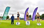 26 June 2021; Athletics Ireland High Performance Chairman Neil Martin, far left, with Women's 3000m Steeplechase medallists, from left, Eilish Flanagan of Carmen Runners AC, Tyrone, silver, Michelle Finn of Leevale AC, Cork, gold, and Kerry Anne O'Flaherty of Newcastle and District AC,Down, bronze  during day two of the Irish Life Health National Senior Championships at Morton Stadium in Santry, Dublin. Photo by Sam Barnes/Sportsfile