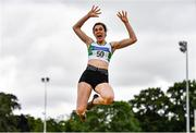 26 June 2021; Laura Frawley of Emerald AC, Limerick, competing in the Women's Long Jump during day two of the Irish Life Health National Senior Championships at Morton Stadium in Santry, Dublin. Photo by Sam Barnes/Sportsfile