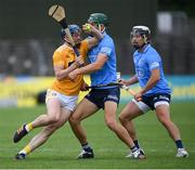 26 June 2021; Gerard Walsh of Antrim in action against Chris Crummey of Dublin during the Leinster GAA Hurling Senior Championship Quarter-Final match between Dublin and Antrim at Páirc Tailteann in Navan, Meath. Photo by Stephen McCarthy/Sportsfile