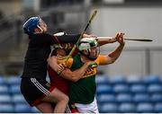26 June 2021; Stephen Keith, left and Conor Cassidy of Down in action against Padraig Boyle of Kerry during the Joe McDonagh Cup Round 1 match between Kerry and Down at Austin Stack Park in Tralee, Kerry. Photo by Daire Brennan/Sportsfile