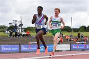 26 June 2021; Hiko Haso Tonosa of Dundrum South Dublin AC, left, on his way to winning the Men's 5000m ahead of Sean Tobin of Clonmel AC, Tipperary, who finished second, during day two of the Irish Life Health National Senior Championships at Morton Stadium in Santry, Dublin. Photo by Sam Barnes/Sportsfile