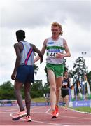 26 June 2021; Hiko Haso Tonosa of Dundrum South Dublin AC, left, congratulates Sean Tobin of Clonmel AC, Tipperary, after the finished first and second respectively in the Men's 5000m  during day two of the Irish Life Health National Senior Championships at Morton Stadium in Santry, Dublin. Photo by Sam Barnes/Sportsfile