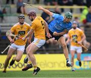 26 June 2021; Chris Crummey of Dublin in action against Eoghan Campbell of Antrim during the Leinster GAA Hurling Senior Championship Quarter-Final match between Dublin and Antrim at Páirc Tailteann in Navan, Meath. Photo by Stephen McCarthy/Sportsfile