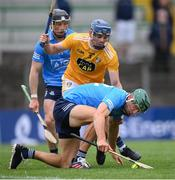 26 June 2021; Chris Crummey of Dublin in action against Gerard Walsh of Antrim during the Leinster GAA Hurling Senior Championship Quarter-Final match between Dublin and Antrim at Páirc Tailteann in Navan, Meath. Photo by Stephen McCarthy/Sportsfile