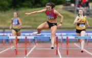 26 June 2021; Kelly McGrory of Tír Chonaill AC, Donegal, on her way to winning the Women's 400m Hurdles during day two of the Irish Life Health National Senior Championships at Morton Stadium in Santry, Dublin. Photo by Sam Barnes/Sportsfile