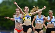 26 June 2021; Louise Shanahan of Leevale AC, Cork, 13, celebrates winning the Women's 800m ahead of Siofra Cleirigh Buttner of Dundrum South Dublin AC, left, who finished second,  during day two of the Irish Life Health National Senior Championships at Morton Stadium in Santry, Dublin. Photo by Sam Barnes/Sportsfile