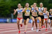 26 June 2021; Louise Shanahan of Leevale AC, Cork, 13, on her way to winning the Women's 800m ahead of Siofra Cleirigh Buttner of Dundrum South Dublin AC, left, who finished second,  during day two of the Irish Life Health National Senior Championships at Morton Stadium in Santry, Dublin. Photo by Sam Barnes/Sportsfile