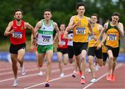 26 June 2021; John Fitzsimons of Kildare AC, far left, on his way to winning the Men's 800m, ahead of Cillian Kirwan of Raheny Shamrock AC, Dublin, 218, and Luke Mc Cann of UCD AC, Dublin, 602,  during day two of the Irish Life Health National Senior Championships at Morton Stadium in Santry, Dublin. Photo by Sam Barnes/Sportsfile