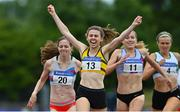 26 June 2021; Louise Shanahan of Leevale AC, Cork, 13, celebrates winning the Women's 800m during day two of the Irish Life Health National Senior Championships at Morton Stadium in Santry, Dublin. Photo by Sam Barnes/Sportsfile