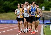 26 June 2021; Andrew Coscoran of Star of the Sea AC,  Meath, right, on his way to winning the Men's 1500m, ahead of Kevin Kelly of St. Coca's AC, Kildare, left, during day two of the Irish Life Health National Senior Championships at Morton Stadium in Santry, Dublin. Photo by Sam Barnes/Sportsfile
