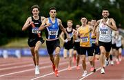 26 June 2021; Andrew Coscoran of Star of the Sea AC,  Meath, second from left, on his way to winning the Men's 1500m, ahead of Cathal Doyle of Clonliffe Harriers AC, Dublin, left, and Kevin Kelly of St. Coca's AC, Kildare, right, during day two of the Irish Life Health National Senior Championships at Morton Stadium in Santry, Dublin. Photo by Sam Barnes/Sportsfile