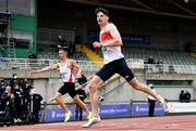 26 June 2021; Cillin Greene of Galway City Harriers AC, right, crosses the line to win the Men's 400m ahead of Christopher O'Donnell of North Sligo AC, who finished second, during day two of the Irish Life Health National Senior Championships at Morton Stadium in Santry, Dublin. Photo by Sam Barnes/Sportsfile