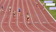 26 June 2021; Phil Healy of Bandon AC, Cork, centre, crosses the line to win the Women's 400m during day two of the Irish Life Health National Senior Championships at Morton Stadium in Santry, Dublin. Photo by Sam Barnes/Sportsfile