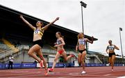 26 June 2021; Louise Shanahan of Leevale AC, Cork, right, celebrates as she crosses the line to win the Women's 800m during day two of the Irish Life Health National Senior Championships at Morton Stadium in Santry, Dublin. Photo by Sam Barnes/Sportsfile