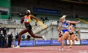 26 June 2021; Rhasidat Adeleke of Tallaght AC, Dublin, left, crosses the line to win the Women's 100m ahead of Molly Scott of St Laurence O'Toole AC, Carlow, during day two of the Irish Life Health National Senior Championships at Morton Stadium in Santry, Dublin. Photo by Sam Barnes/Sportsfile
