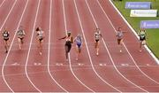 26 June 2021; Rhasidat Adeleke of Tallaght AC, Dublin, fourth from left, crosses the line to win the Women's 100m ahead of Molly Scott of St Laurence O'Toole AC, Carlow, fourth from right, during day two of the Irish Life Health National Senior Championships at Morton Stadium in Santry, Dublin. Photo by Sam Barnes/Sportsfile