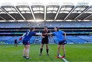 26 June 2021; Referee Seamus Mulvihill with team captains Cork goalkeeper Martina O'Brien and Sinead Aherne of Dublin during the Lidl Ladies Football National League Division 1 Final match between Cork and Dublin at Croke Park in Dublin. Photo by Ramsey Cardy/Sportsfile