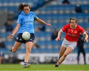 26 June 2021; Hannah Tyrrell of Dublin in action against Melissa Duggan of Cork during the Lidl Ladies Football National League Division 1 Final match between Cork and Dublin at Croke Park in Dublin. Photo by Ramsey Cardy/Sportsfile