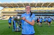 26 June 2021; Hannah Tyrrell of Dublin celebrates with the cup the Lidl Ladies Football National League Division 1 Final match between Cork and Dublin at Croke Park in Dublin. Photo by Brendan Moran/Sportsfile