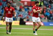 26 June 2021; Bundee Aki, left, and Robbie Henshaw of British and Irish Lions during the 2021 British and irish Lions tour match between the British and Irish Lions and Japan at BT Murrayfield Stadium in Edinburgh, Scotland. Photo by Ian Rutherford/Sportsfile