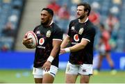 26 June 2021; Bundee Aki, left, and Robbie Henshaw of British and Irish Lions before the 2021 British and irish Lions tour match between the British and Irish Lions and Japan at BT Murrayfield Stadium in Edinburgh, Scotland. Photo by Ian Rutherford/Sportsfile