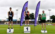 26 June 2021; Athletics Ireland Chair of Competition Andrew Lynam, left, with Men's High Jump Medallists, from left, Geoffrey Joy O'Regan of Sun Hill Harriers AC, Limerick, Ciaran Connolly of Le Chéile AC, Kildare, gold, and David Cussen of Old Abbey AC, bronze, during day two of the Irish Life Health National Senior Championships at Morton Stadium in Santry, Dublin. Photo by Sam Barnes/Sportsfile