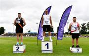 26 June 2021; Men's Discus Medallists, from left, Eoin Sheridan of Clonliffe Harriers AC, Dublin, silver, Colin Quirke of Crusaders AC, Dublin, gold, and Padraig Hore of DMP AC, Wexford, bronze, during day two of the Irish Life Health National Senior Championships at Morton Stadium in Santry, Dublin. Photo by Sam Barnes/Sportsfile