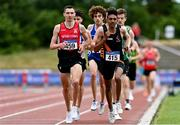 26 June 2021; Conor Bradley of City of Derry AC Spartans,left, and Efrem Gidey of Clonliffe Harriers AC, Dublin, competing in the Men's 5000m during day two of the Irish Life Health National Senior Championships at Morton Stadium in Santry, Dublin. Photo by Sam Barnes/Sportsfile