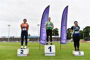 26 June 2021; Women's weight for distance medallists, from left, Casey Mulvey of Inny Vale AC, Cavan, silver, Zoe Mohan of Cushinstown AC, Meath, gold, and Ebony Hogan of Birr AC, Offaly, bronze, during day two of the Irish Life Health National Senior Championships at Morton Stadium in Santry, Dublin. Photo by Sam Barnes/Sportsfile