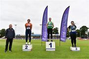 26 June 2021; Athletics Ireland Chair of Finance & Risk Michael Quinlan with Women's weight for distance medallists, from left, Casey Mulvey of Inny Vale AC, Cavan, silver, Zoe Mohan of Cushinstown AC, Meath, gold, and Ebony Hogan of Birr AC, Offaly, bronze, during day two of the Irish Life Health National Senior Championships at Morton Stadium in Santry, Dublin. Photo by Sam Barnes/Sportsfile