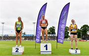 26 June 2021; Women's 400m Hurdles medallists, from left, Deirdre Murray of Na Fianna AC, Meath, silver, Kelly McGrory of Tír Chonaill AC, Donegal, gold, and Karen Dunne of Bohermeen AC, Meath, bronze,  during day two of the Irish Life Health National Senior Championships at Morton Stadium in Santry, Dublin. Photo by Sam Barnes/Sportsfile